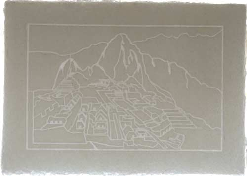 Watermarked paper with Machu Picchu profile