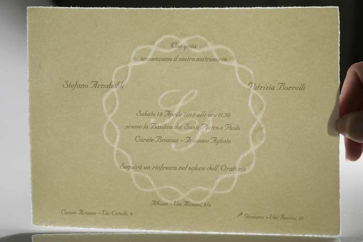 Backlit watermarked wedding card