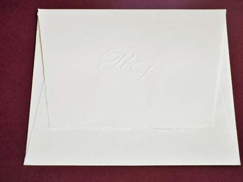 'Piura' envelope for square cards, embossed initials