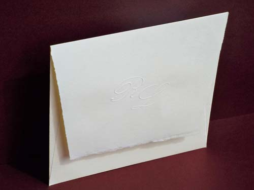 'Piura' envelope with embossed initials, for square wedding cards