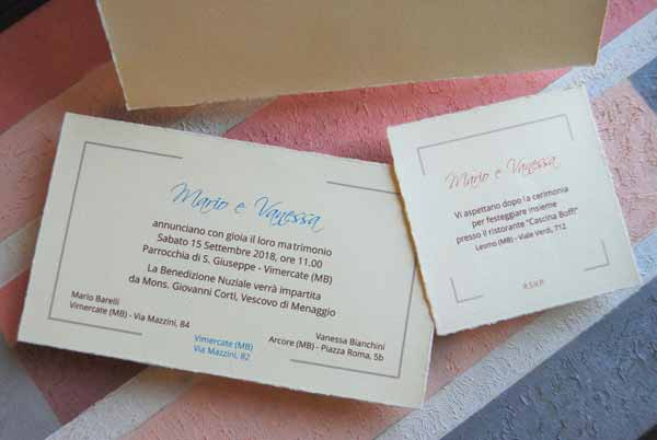 Wedding card and coordinated party invitation