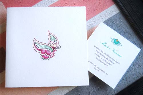 Wedding card 'Tenerezza' in pink, folded, invitation in green color