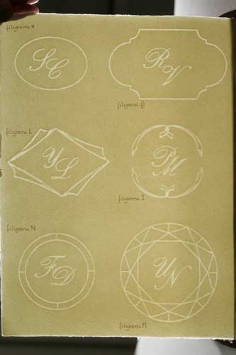 Catalogue of our watermarked initials for wedding invitations