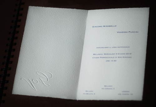 Double invitation with embossing, inside view