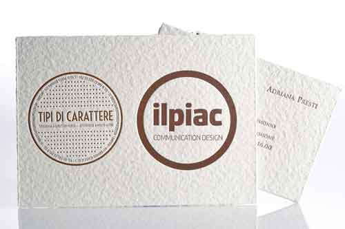 Three printed samples: logo of Tipografia Pesatori and of Maurizio Piacenza on cardboard 21x15cm and an example of wedding invitations, size 19x11cm
