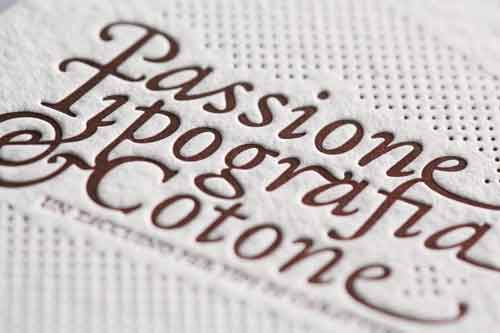 Print sample 'Passione, Tipografia e Cotone' [Passion, typography and cotton]